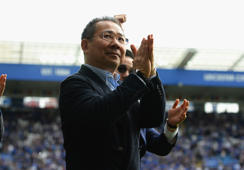 LEICESTER, ENGLAND - MAY 21: Chairman of Leicester City Vichai Srivaddhanaprabh aapplauds the fans after the Premier League match between Leicester City and AFC Bournemouth at The King Power Stadium on May 21, 2017 in Leicester, England.  (Photo by Tony Marshall/Getty Images )