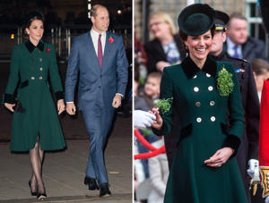 LONDON, ENGLAND - NOVEMBER 11: Catherine, Duchess of Cambridge and Prince William, Duke of Cambridge attend a service at Westminster Abbey marking The Centenary Of WW1 Armistice at Westminster Abbey on November 11, 2018 in London, England. (Photo by Samir Hussein/WireImage); Britain's Catherine, Duchess of Cambridge (L) reacts as she is handed a sprig of shamrock during the annual St Patrick's Day parade of the 1st Battalion Irish Guards at Cavalry Barracks in Hounslow, west London on March 17, 2017. / AFP PHOTO / POOL / RICHARD POHLE (Photo credit should read RICHARD POHLE/AFP/Getty Images)