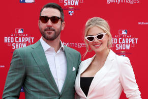 WASHINGTON, DC - JULY 17:  Justin Verlander #35 of the Houston Astros and the American League and wife Kate Upton attend the 89th MLB All-Star Game, presented by MasterCard red carpet at Nationals Park on July 17, 2018 in Washington, DC.  (Photo by Patrick Smith/Getty Images)
