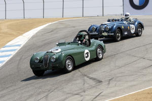 August 21, 2019: A 1952 Jaguar XK120 driven by William Rooklidge from Laguna Beach, CA (#13) leads A 1954 Jaguar XK120 driven by George Holt from Gabriola, BC (#154) at turn 8 (enter the corkscrew) during Rolex Race 1B at the Rolex Monterey Motorsports Reunion held August 18-21, 2016 at Mazda Raceway in Monterey CA. (Photo by Allan Hamilton/ Icon Sportswire)