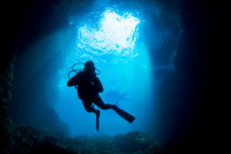 Follow Diver. Scuba diver and shark silhouette. Underwater scene of blue cave.SEE ALSO: