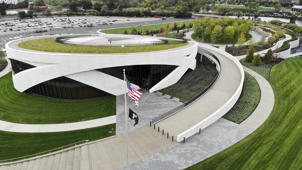 The exterior of the National Veterans Museum and Memorial is seen from the air during a limited media availability, Monday, Oct. 15, 2018, in Columbus, Ohio. A sweeping new museum in America's heartland honors the unifying experiences of U.S. military veterans outside the traditional trappings of military museums and war memorials. The 50,000-square-foot museum, which opens Oct. 27 in Columbus, Ohio, aims to honor, inspire, connect and educate with unique interactive experiences. (AP Photo/John Minchillo)