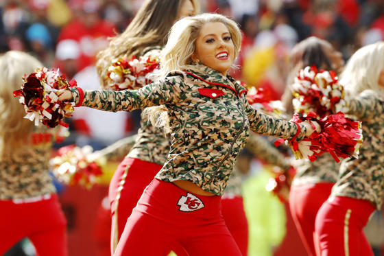 Slide 3 of 92: Kansas City Chiefs cheerleaders perform during the second half of an NFL football game against the Arizona Cardinals Sunday, Nov. 11, 2018, in Kansas City, Mo. The Chiefs won 26-14. (AP Photo/Charlie Riedel)
