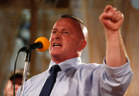 Richard Ojeda, a Democratic nominee for Congress, speaks to supporters ahead of the 2018 midterm elections at Hound Dog Adkins Barn in Peach Creek, West Virginia, U.S. November 3, 2018.