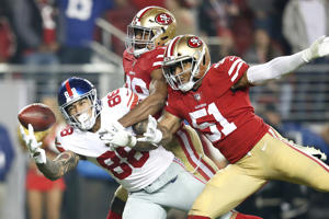 Evan Engram #88 of the New York Giants is unable to make a catch against the San Francisco 49ers during their NFL game at Levi's Stadium on November 12, 2018 in Santa Clara, California.