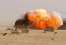 USArmy engineers employ a M58 Mine Clearing Line Charge during an exercise @ Udairi Range Complex, Kuwait, Jul 9