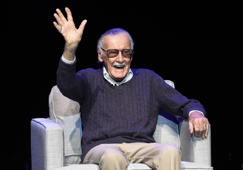 "FILE - In this Aug. 22, 2017, file photo, comic book writer Stan Lee waves to the audience after being introduced onstage at the ""Extraordinary: Stan Lee"" tribute event at the Saban Theatre in Beverly Hills, Calif. Comic book genius Lee, the architect of the contemporary comic book, has died. He was 95. The creative dynamo who revolutionized the comics by introducing human frailties in superheroes such as Spider-Man, The Fantastic Four and The Incredible Hulk, was declared dead Monday, Nov. 12, 2018, at Cedars-Sinai Medical Center in Los Angeles, according to Kirk Schenck, an attorney for Lee's daughter, J.C. Lee.  (Photo by Chris Pizzello/Invision/AP, File)"