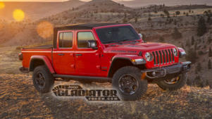 an old red truck is parked in front of a car: Leaked official photos of the 2020 Jeep Gladiator pickup truck.