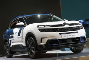 PARIS, FRANCE - OCTOBER 02:  A Citroen SUV C5 Aircross model automobile is on display during the first press day of the Paris Motor Show at the Parc des Expositions at the Porte de Versailles on October 2, 2018 in Paris. The Paris Motor Show will present the latest models from the world's leading car manufacturers at the Paris Expo Exhibition Center from October 4 to 14, 2018.  (Photo by Chesnot/Getty Images)