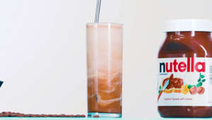 a close up of a beverage on a table: How to Make Nutella Iced Coffee