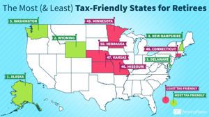 a close up of a map: tax-friendly states retirees