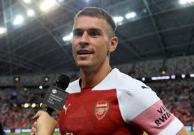 Aaron Ramsey of Arsenal after the International Champions Cup 2018 match between Club Atletico de Madrid and Arsenal at the National Stadium on July 26, 2018 in Singapore.