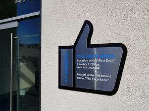 Historical marker in the shape of the Facebook Like thumbs up marking the company's first office in the Silicon Valley, Palo Alto, California, November 2, 2018. (Photo by Smith Collection/Gado/Getty Images)