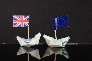 Origami boats made with Euro banknotes and their flags