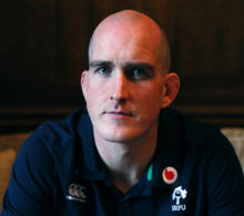 Ireland's Devin Toner poses for a picture after a press conference at Carton House Hotel, Maynooth.