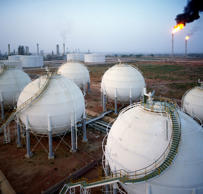 Oil refinery and petrochemical installations in Nigeria, Africa.