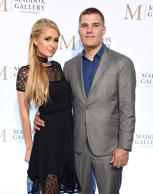 Paris Hilton and Chris Zylka attend the ViP Opening of Maddox Gallery Exhibition 'Best Of British' at Maddox Gallery on October 11, 2018 in Los Angeles, California.