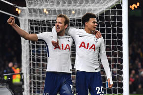 Tottenham Hotspur's Harry Kane celebrates scoring his side's second goal of the game with Dele Alli (right) during the Premier League match