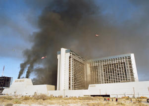 Helicopters hover in the acrid smoke rising from a fire in the MGM Grand Hotel and Casino in Las Vegas, Nev., Nov. 21, 1980.
