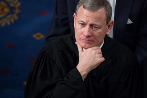 Supreme Court Chief Justice John Roberts is shown at President Donald Trump's State of the Union address on January 30, 2018.