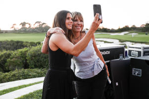 Danica Patrick and director Hannah Storm take a selfie after their presentation at the espnW Summit held at Resort at Pelican Hill on Oct. 1, in Newport Beach, California.
