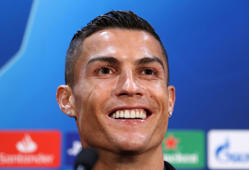Juventus' Cristiano Ronaldo during the press conference at Old Trafford, Manchester. (Photo by Martin Rickett/PA Images via Getty Images)
