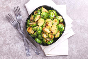 Brussels Sprouts roasted with olive oil.