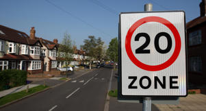 General view of a 20mph speed limit sign in Morden, south west London. Wide-ranging proposals to dramatically cut the number of deaths on the roads were set out by Road Safety Minister Jim Fitzpatrick today as he also confirmed a major overhaul of the driver training and testing process.   (Photo by Dominic Lipinski - PA Images/PA Images via Getty Images)