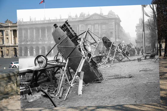Slide 1 of 33: In this composite image a comparison has been made of Place de la Concorde. Commemorations of The First World War Centenary begin in 2014 and will last until 2018. *** COLOR 2014*** PARIS - MARCH 12: Cars are parked near Place de la Concorde on March 12, 2014 in Paris, France. A number of events will be held this year to commemorate the centenary of the start of World War One. (Photo by Peter Macdiarmid/Getty Images) ***ARCHVE 1918*** World War I, German airplanes at Place de la Concorde in Paris, wrecked by celebrating crowds on the day of the restoration of Alsace-Lorraine. November 18, 1918. (Photo by Maurice-Louis Branger/Roger Viollet/Getty Images)