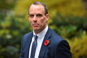Brexit Minister Dominic Raab arrives at 10 Downing Street
