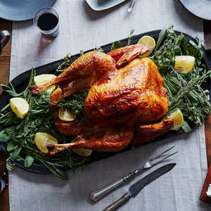 a plate of food on a table: Barbara Kafka's Simple Roast Turkey