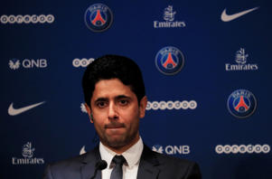 Soccer Football - Paris St Germain Introduce New Goalkeeper Gianluigi Buffon - Parc des Princes, Paris, France - July 9, 2018   Paris St Germain president Nasser Al-Khelaifi during the press conference   REUTERS/Gonzalo Fuentes