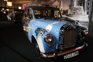 A British taxi Cab Austin FX4 1965 is pictured October 3, 2008  at the 2008 Motor show during a 'taxi of the world' exhibition. The Paris motor show opened on October 2 for the press and industry reps. From Saturday October 4 until October 19 it will be open to the public. AFP PHOTO JOEL SAGET (Photo credit should read JOEL SAGET/AFP/Getty Images)