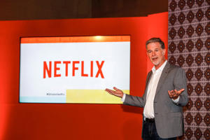 BOGOTA, COLOMBIA - OCTOBER 09: Netflix CEO Reed Hastings speaks during Netflix Slate Event 2018 at JW Marriot on October 9, 2018 in Bogota, Colombia. (Photo by Daniel Muñoz/Getty Images for NETFLIX)