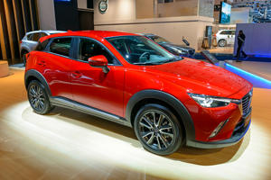 BRUSSELS, BELGIUM - JANUARY 13:    Mazda CX-3 compact family crossover SUV car front side view on display at Brussels Expo on January 13, 2017 in Brussels, Belgium. The third generation of the Mazda CX-3 is availbale with various petrol and diesel engines and various trim levels. (Photo by Sjoerd van der Wal/Getty Images)
