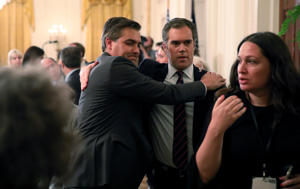 CNN's Jim Acosta (L) hugs colleague Peter Alexander of NBC after a tense exchange between Acosta and U.S. President Donald Trump during a news conference following Tuesday's midterm U.S. congressional elections at the White House in Washington, U.S., November 7, 2018. REUTERS/Jonathan Ernst