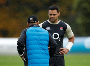 Rugby Union - England Training - Pennyhill Park Hotel, Bagshot, Britain - November 7, 2018   England head coach Eddie Jones and England's Ben Te'o during training   Action Images via Reuters/Andrew Boyers