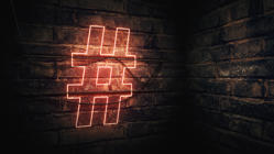 Hashtag Neon Sign mounted on brick wall, illustration