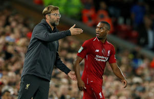 "Soccer Football - Carabao Cup - Third Round - Liverpool v Chelsea - Anfield, Liverpool, Britain - September 26, 2018  Liverpool manager Juergen Klopp gives instructions to Daniel Sturridge   REUTERS/Andrew Yates  EDITORIAL USE ONLY. No use with unauthorized audio, video, data, fixture lists, club/league logos or ""live"" services. Online in-match use limited to 75 images, no video emulation. No use in betting, games or single club/league/player publications.  Please contact your account representative for further details."