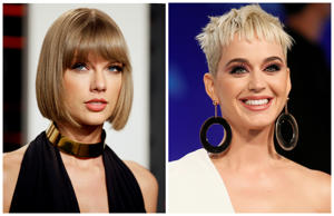 A combination photo shows singers Taylor Swift (L) and Katy Perry (R) in Beverly Hills and in Inglewood, California, U.S., February 28, 2016 and August 27, 2017 respectively.  REUTERS/Danny Moloshok/File Photos