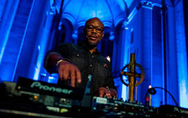 US electronic music producer, DJ, and pastor Robert Hood spins some tunes during a 'Techno Mass' in the Saint Thomas church (Thomaskirche) in Berlin on November 9, 2018. - Hood played techno music and preached to a packed congregation of techno fans and evangelical Christians. (Photo by John MACDOUGALL / AFP)        (Photo credit should read JOHN MACDOUGALL/AFP/Getty Images)