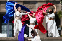 Dancers perform during the Armistice Centenary National Ceremony at Pukeahu National War Memorial Park in Wellington, New Zealand