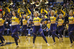 Nov 24, 2018; Morgantown, WV, USA; The West Virginia Mountaineers dance team performs during the first half against the Valparaiso Crusaders at WVU Coliseum.