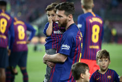 Leo Messi and his son Mateo during the celebrations at the end of the match between FC Barcelona vs Real Sociedad, played in the Camp Nou Stadium, on 20th May 2018, in Barcelona, Spain. -- (Photo by Urbanandsport/NurPhoto via Getty Images)