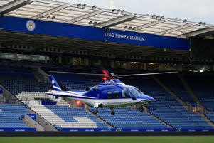Leicester City owner Vichai Srivaddhanaprabha arrives at the King Power Stadium in a helicopter in 2016