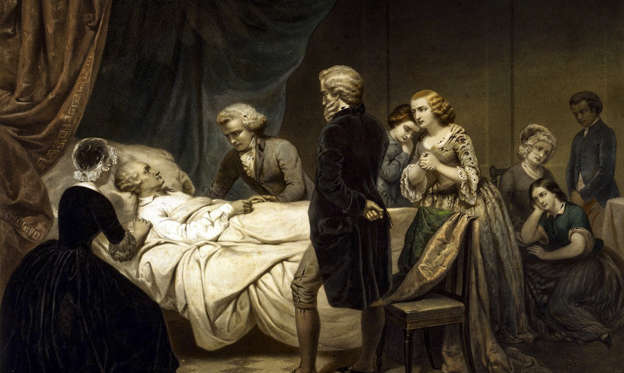 Slide 1 of 12: UNSPECIFIED - :: 'The Life of George Washington': Washington (1732-1799) First President of the United States of America (1789-1797) on his deathbed surrounded by family and friends. Hand-coloured lithograph c1853 after painting by J.B Stearns.