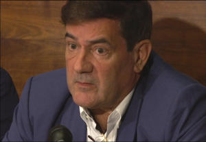 April 12, 2018 image from video, shows Herve Jaubert, a former agent of the French DGSE spy agency, speaking during a press conference at the Conrad Hotel in London, England.
