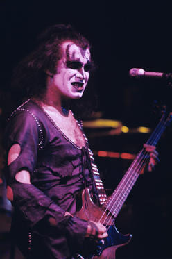 Bassist Gene Simmons of Kiss performs at Alex Cooley's Electric Ballroom on June 22, 1974 in Atlanta