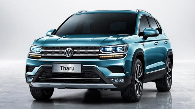 a blue car parked in a parking lot: Volkswagen Tharu - Official photos