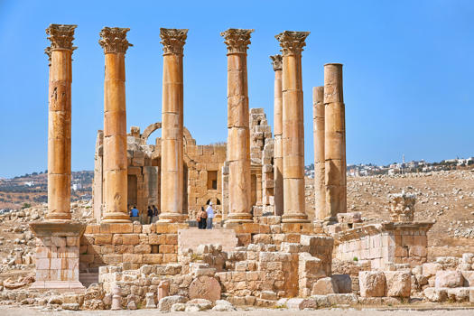 The Temple of Artemis, situated in the middle of the ancient city of Jerash,which is considered one of the most important and best preserved Roman cities in the Near East.